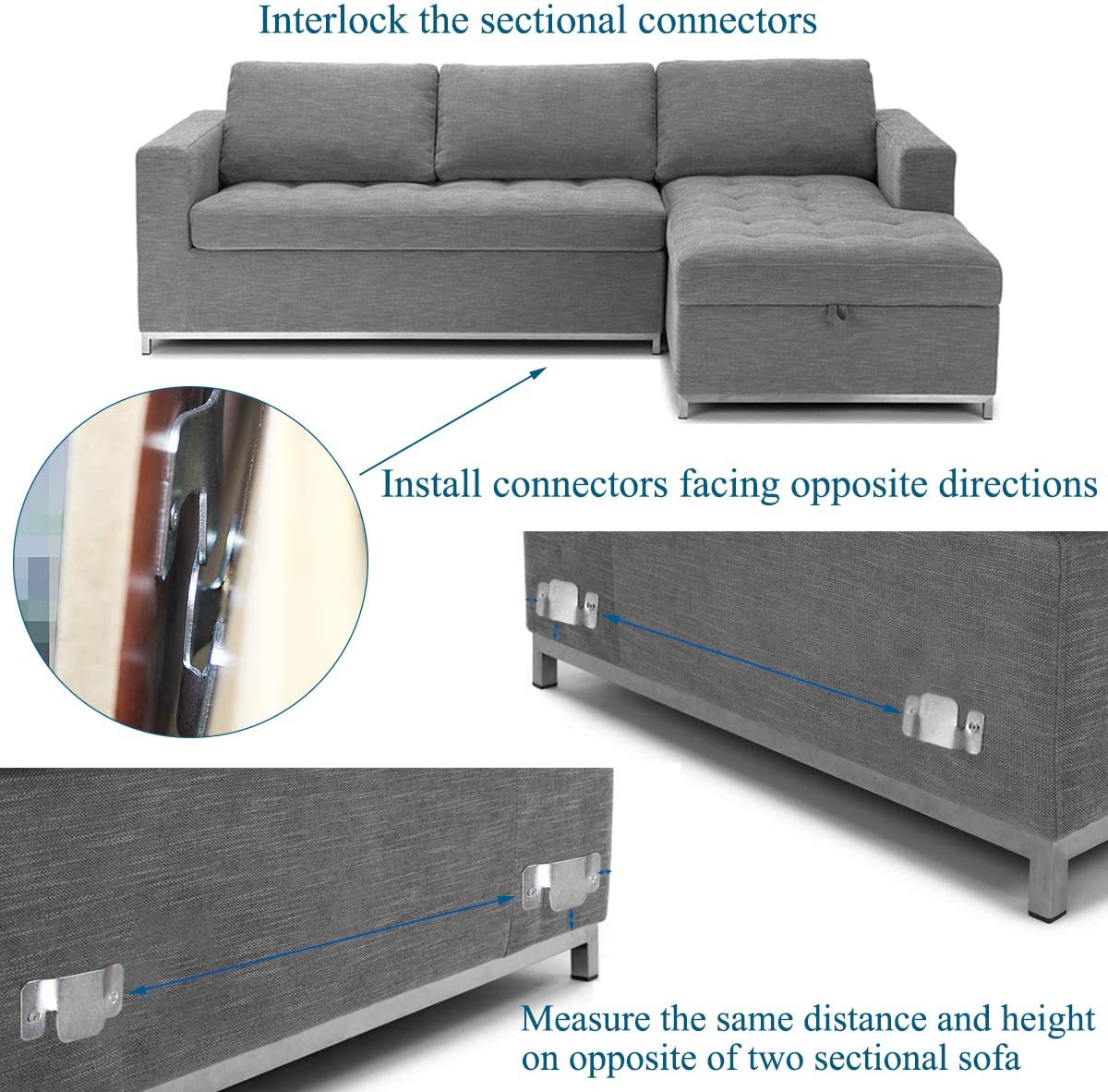 Sopicoz Metal Sectional Connector Sofa Connector Couch Furniture Interlocking Brackets with Screws Set of 8