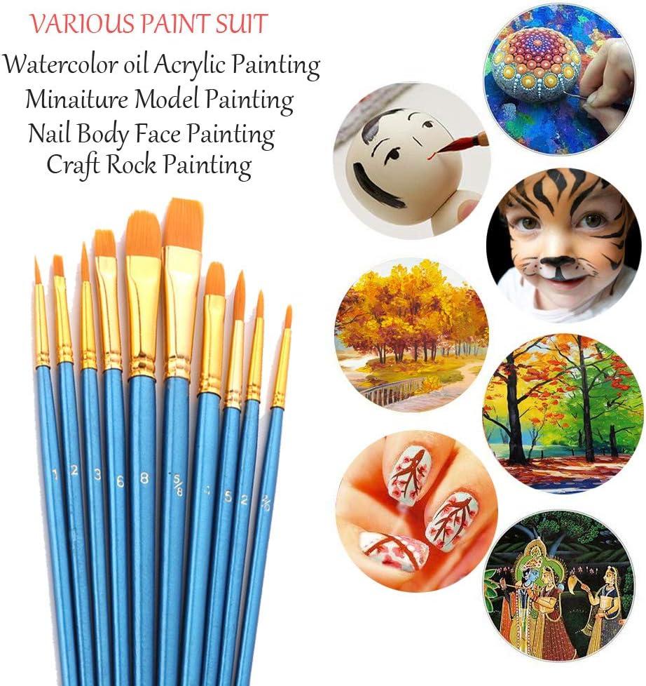 Goozur Paint Brushes Set,3 Pack 30 Pcs Round Pointed Tip Paint Brushes for Acrylic Painting,Acrylic Oil Watercolor,Facial Art,Nail Art,Miniature Detailing and Rock Painting