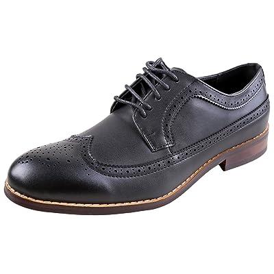 Urban Fox Everette Men's Dress Shoe | Brogue | Round Toe | Oxford Shoes | Slip Resistant | Wingtip Dress Shoes Men | Shoes