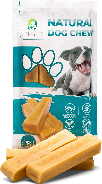 Dilecti Masticable Natural del Himalaya - ¡Juguete masticable para Perros de Larga duración! ¡Los palitos masticables para Perros no contienen OMG ni Gluten! Juego de 3, Talla L
