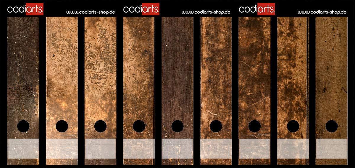 Set mit 9 St/ück breiten Ordner-Etiketten selbstklebend Ordnerr/ücken Sticker rustikales Holz Design braun Holzdekor Vintage