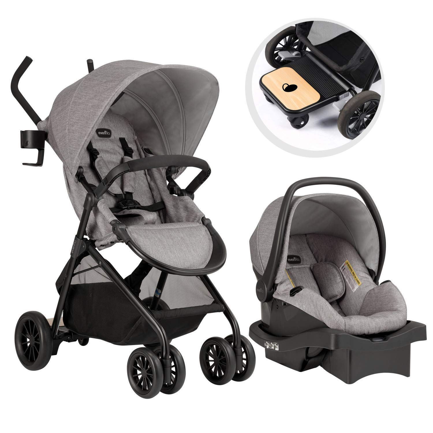 Evenflo Sibby Travel System with LiteMax 35 Infant Car Seat, Mineral Gray by Evenflo (Image #1)