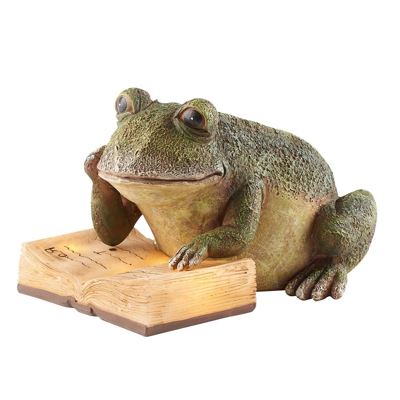 Ivy Home Schooling Garden Solar Resin Statuary Frog