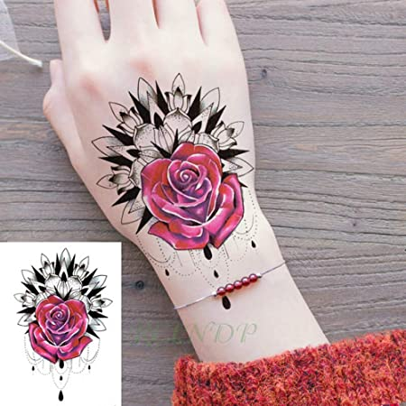 ljmljm 4 Piezas Impermeable Tatuaje Palabra Hoja Negro Pegatina ...