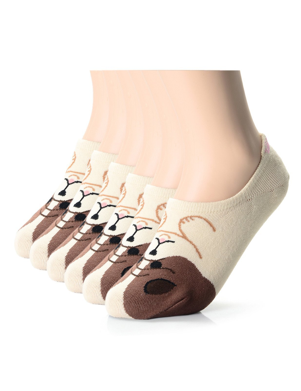 FLATSEVEN Womens Fashion Puppy Friends No Show Socks (XWS1001J) Beige, 6EA