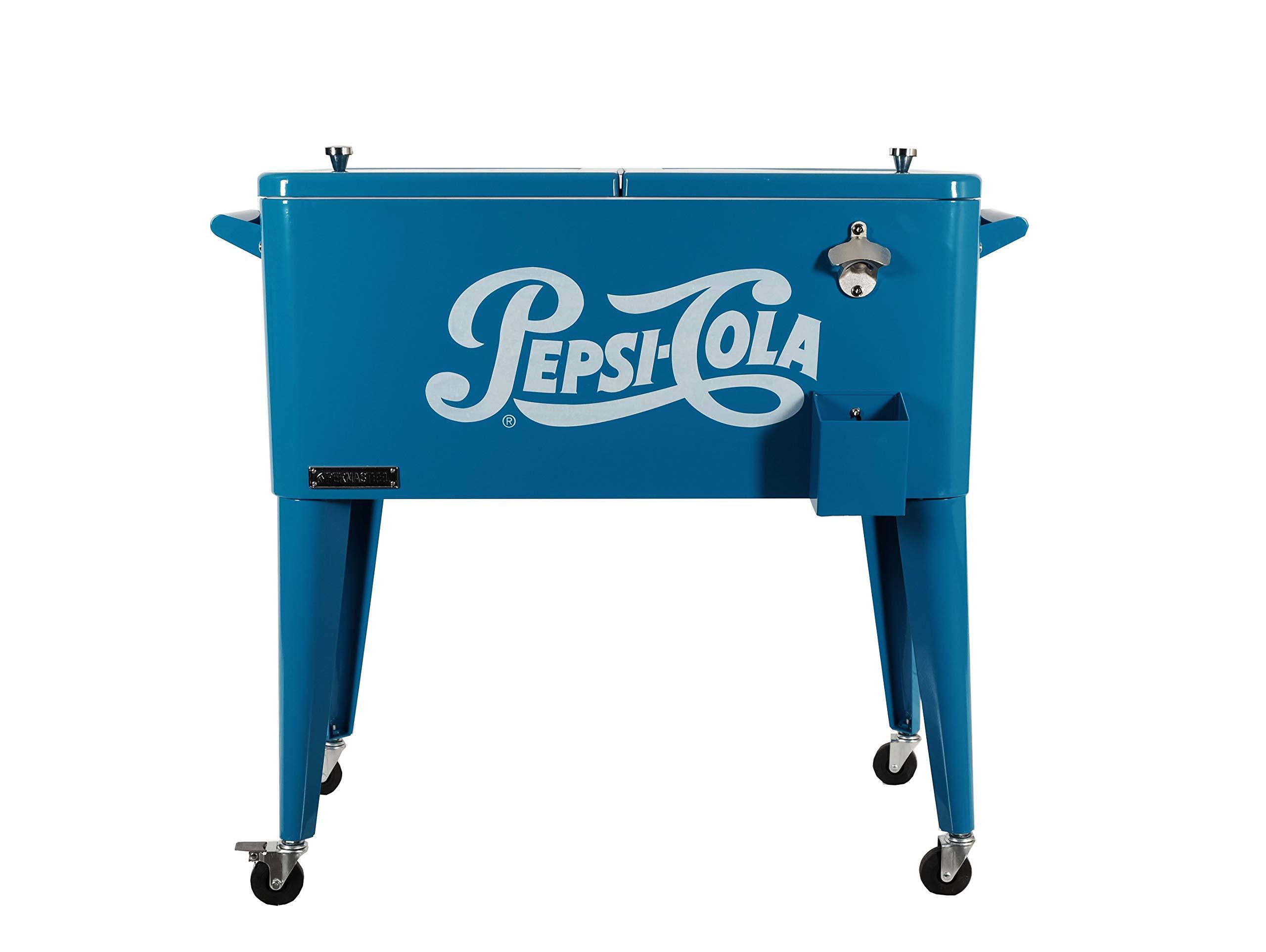 Permasteel 80 Quart Portable Rolling Patio Party Cooler with Pepsi Logo