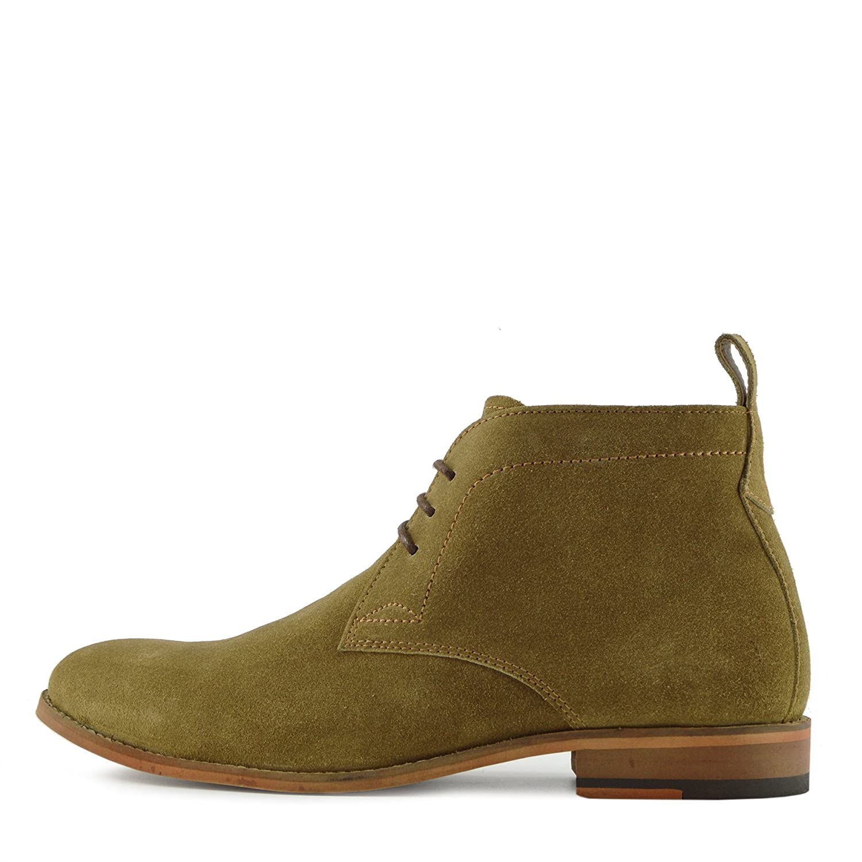 Kick Footwear - Neue Herren Wildleder Lauml;ssige Schnuuml;rschuhe Mode-Stiefel Knouml;chel Desert Schuhe  41 EU|Camel suede leather