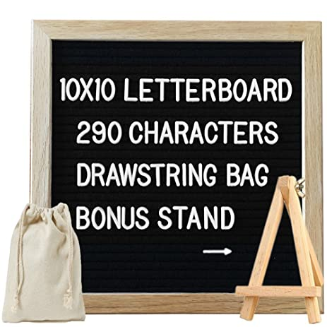 letter board 10x10 black felt with 290 changeable white letters wooden bonus stand