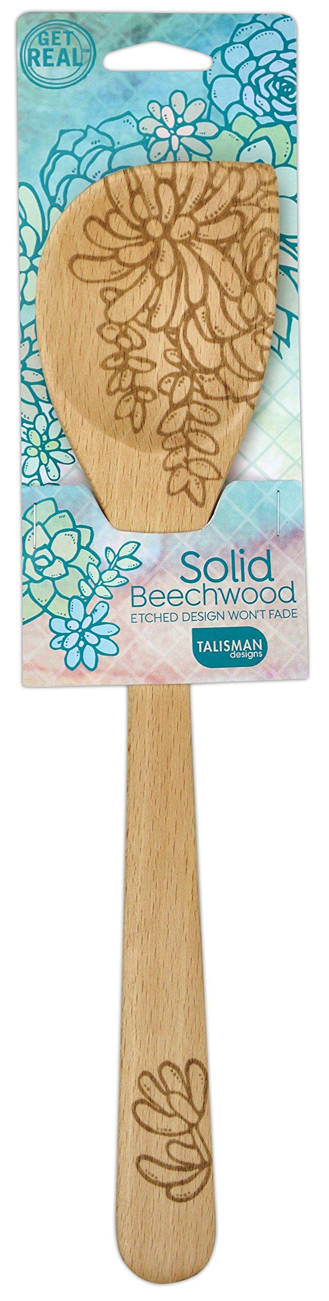 Talisman Designs 1923 Laser Etched Succulents Design Beechwood Corner Spoon