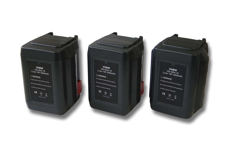 vhbw Sparset 3x Li-Ion Akku 3000mAh (18V) für Werkzeuge Gardena EasyCut 8873, 50-Li wie 8835-U, 8835-20, 8839, 8839-20.
