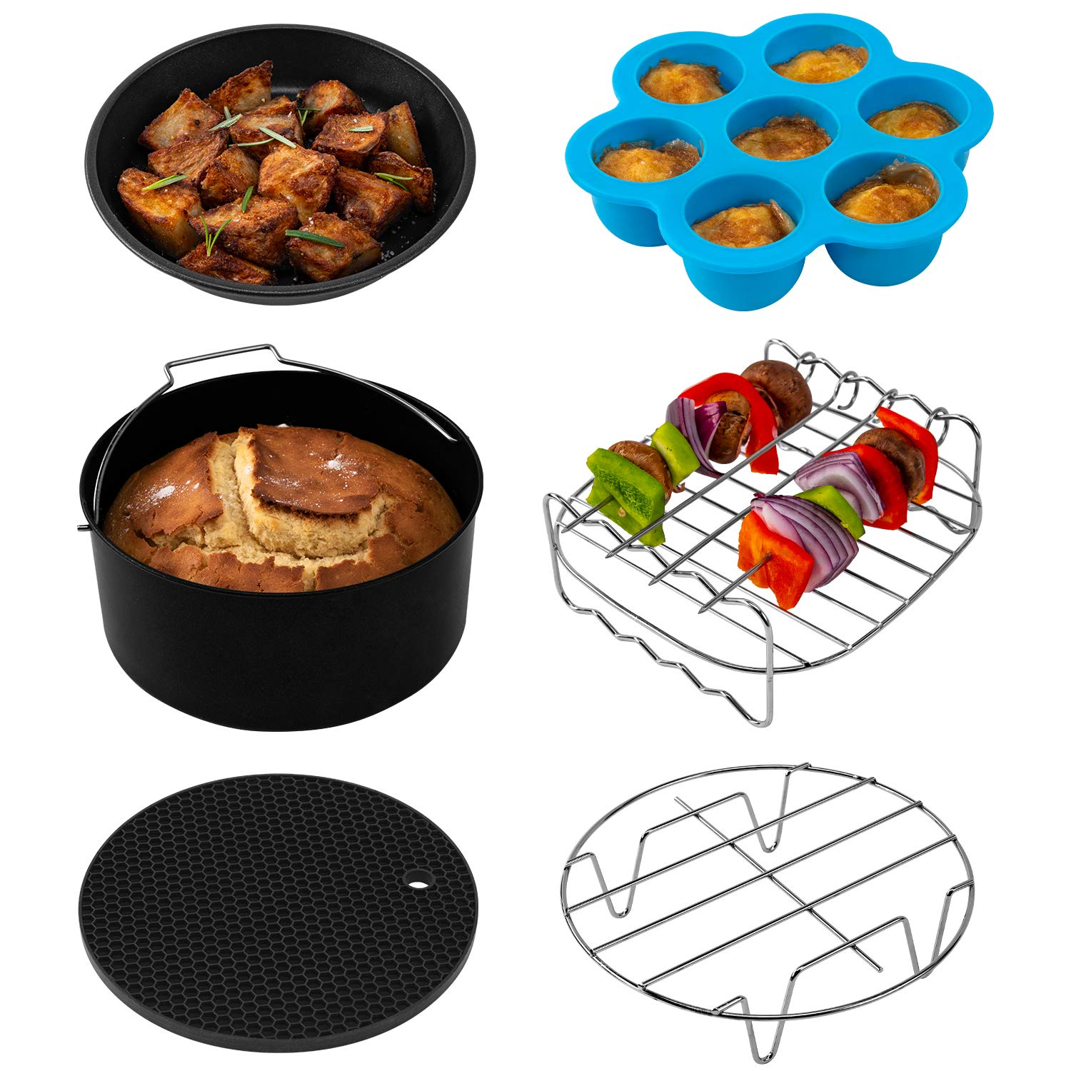 COSORI Air Fryer Accessories (C137-6AC), Set of 6 Fit all 3.7, 4.2QT Air Fryer, FDA Compliant, BPA Free, Dishwasher Safe, Nonstick Coating, 2-Year Warranty