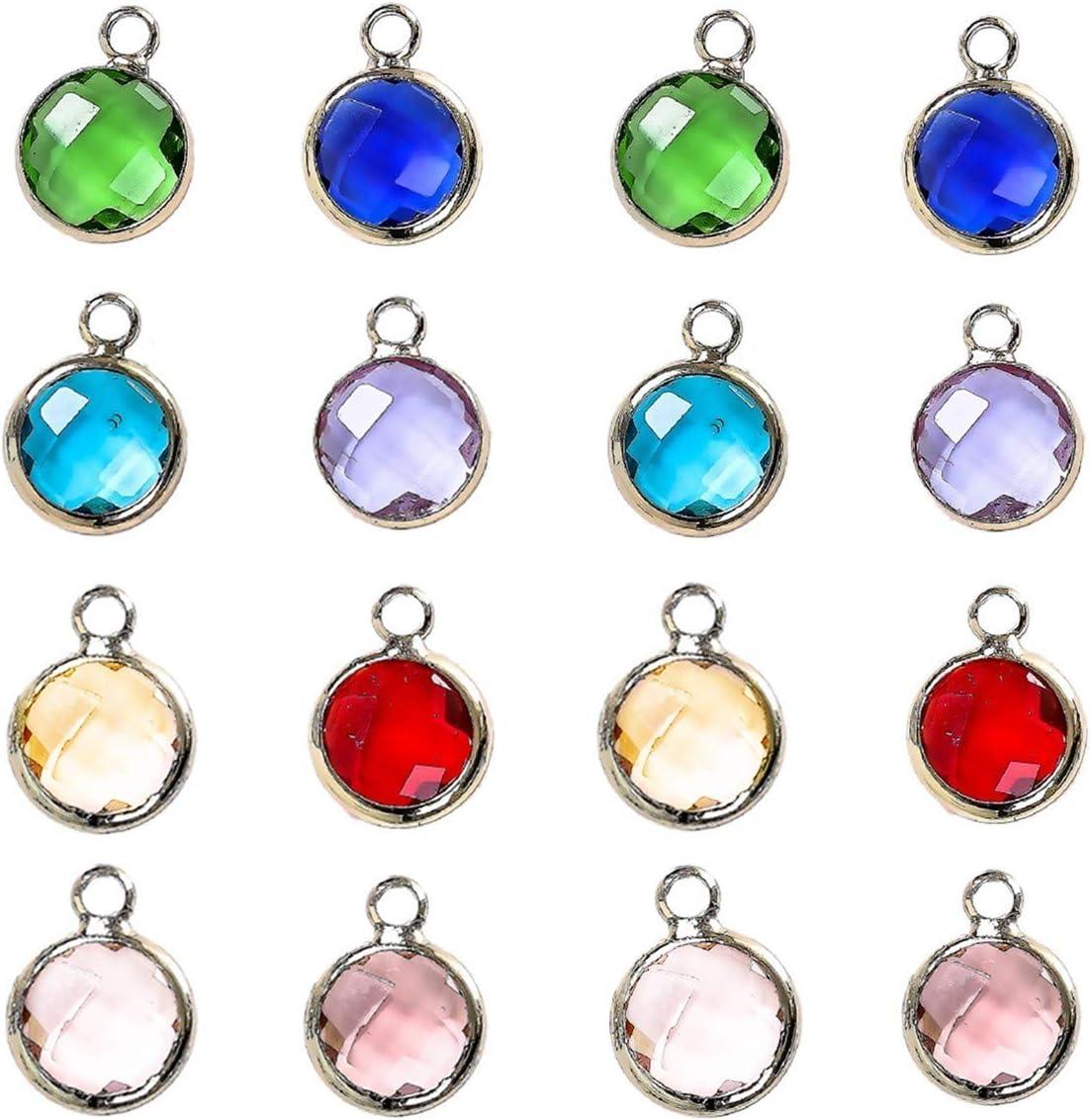 16 abalorios redondos de piedra natal de cristal para manualidades con anillos para hacer collares y pulseras
