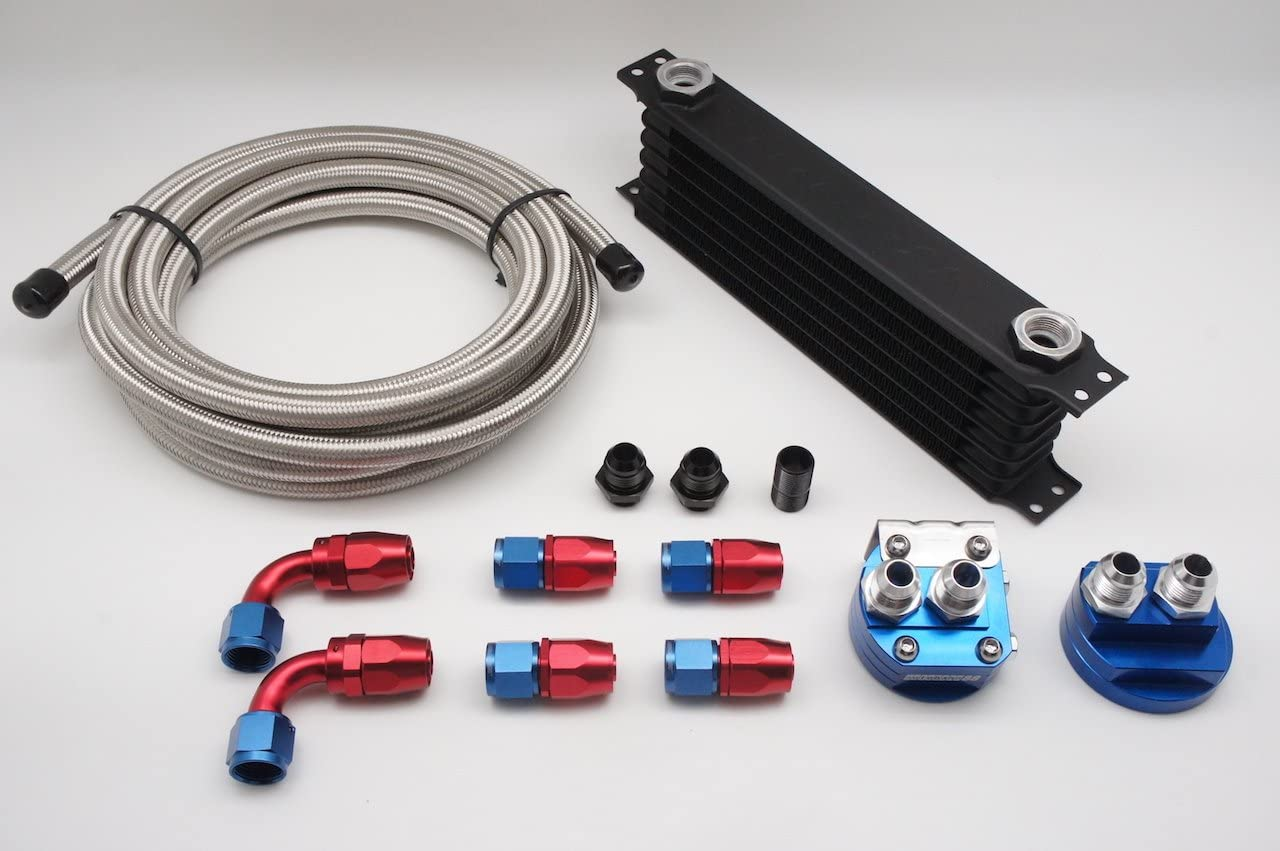 Oil Cooler Relocation Adapter 3m Hose End -AN10 x6 SS Braided Hose Autobahn88 Universal Oil Cooler Combo Kit 10 Feet Includes: 7 Rows Oil Cooler Tank