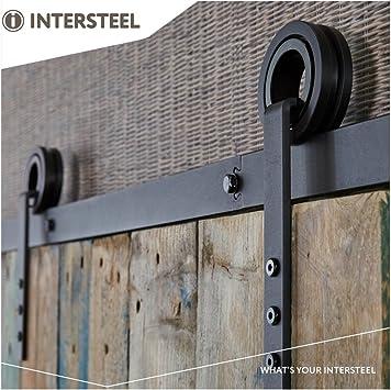INTERSTEEL – Juego de herrajes para puerta corredera – Riel de puerta corredera, sistema de puerta corredera para puertas correderas, puertas interiores y armarios de pared – 200 cm – modular extensible/: