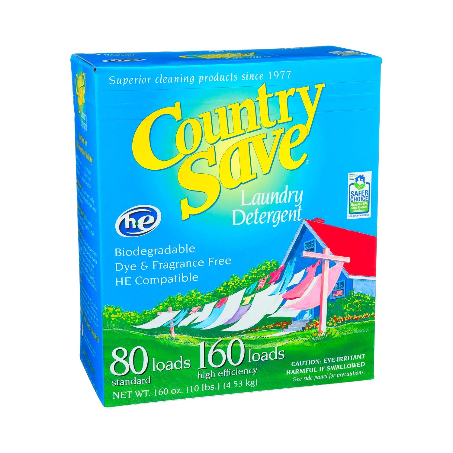 Country Save HE Laundry Detergent, Powder, 160-Load, 10-lb Boxes (Pack of 4) by Country Save