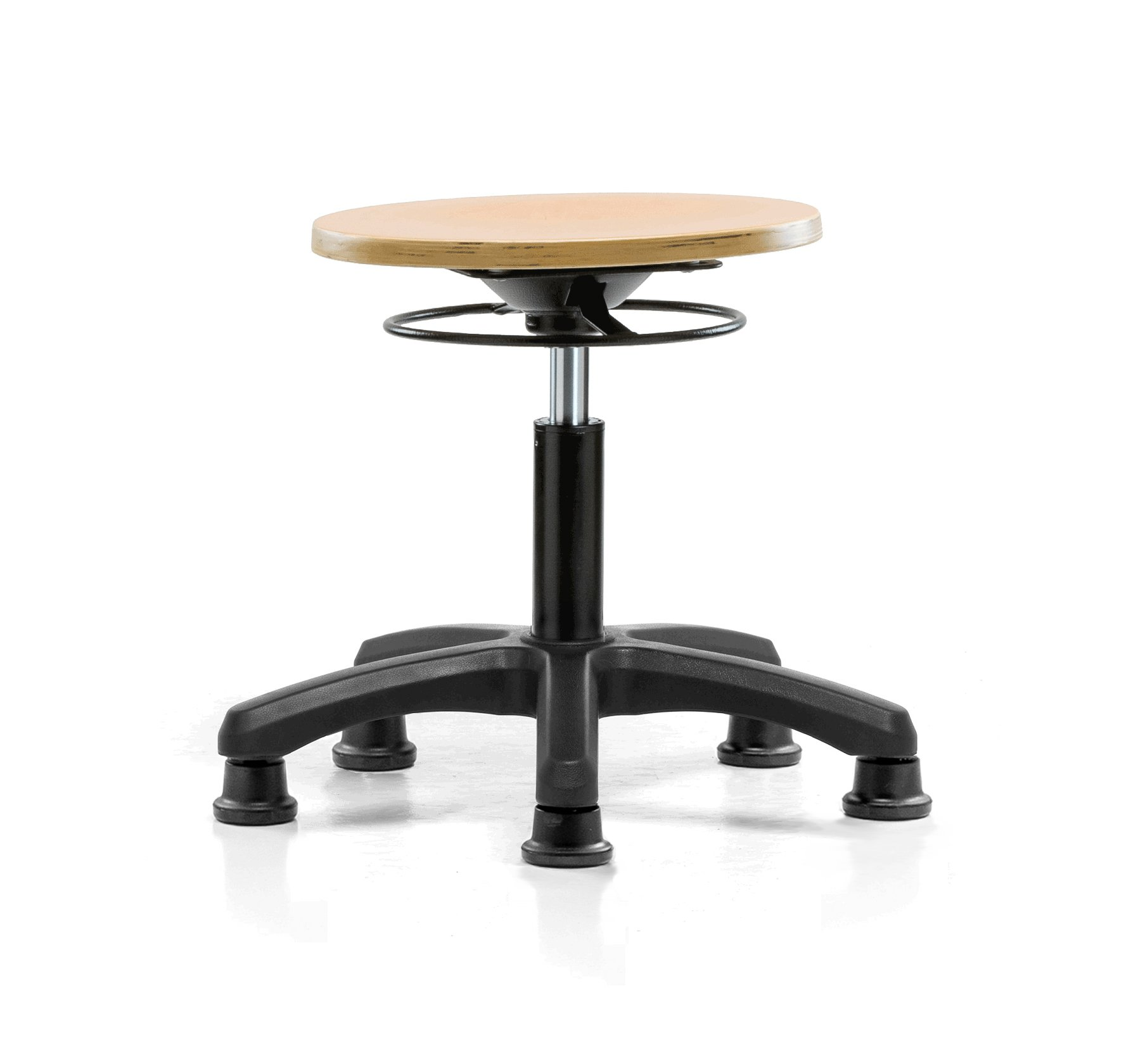 Perch Wood Pneumatic Stool, All Around Adjustment Ring and Stationary Caps, Desk Height