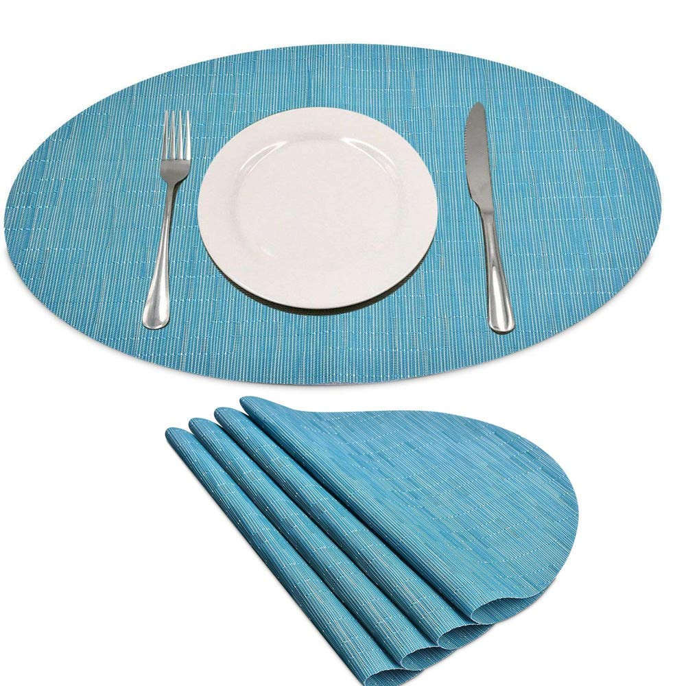 Set of 4 Placemats Heat-Resistant Table Mats Anti-Slip Dinner Place Mat PVC Woven Kitchen Table Decoration Mats Washable (Blue Oval, 17.7″x12.8″)