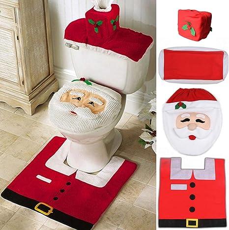 Amazon Com Ohuhu Santa Toilet Seat Cover 4 Piece Christmas Toilet Seat Cover And Rug Set Santa On The Toilet Ornament Santa Claus Toilet Seat For Happy Christmas Decorations Bathroom Decor Red Home