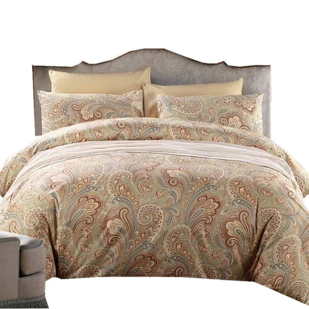 Modern Quilt Bedding Set-Sizes NEW PAISLEY GREY DUVET COVER with PILLOWCASES !!