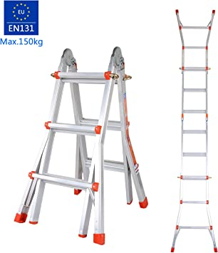 oplon Escalera telescópica Escalera escalera multifunción de aluminio pie escalera de aluminio telescópica (– Escalera extensible mehrzwe