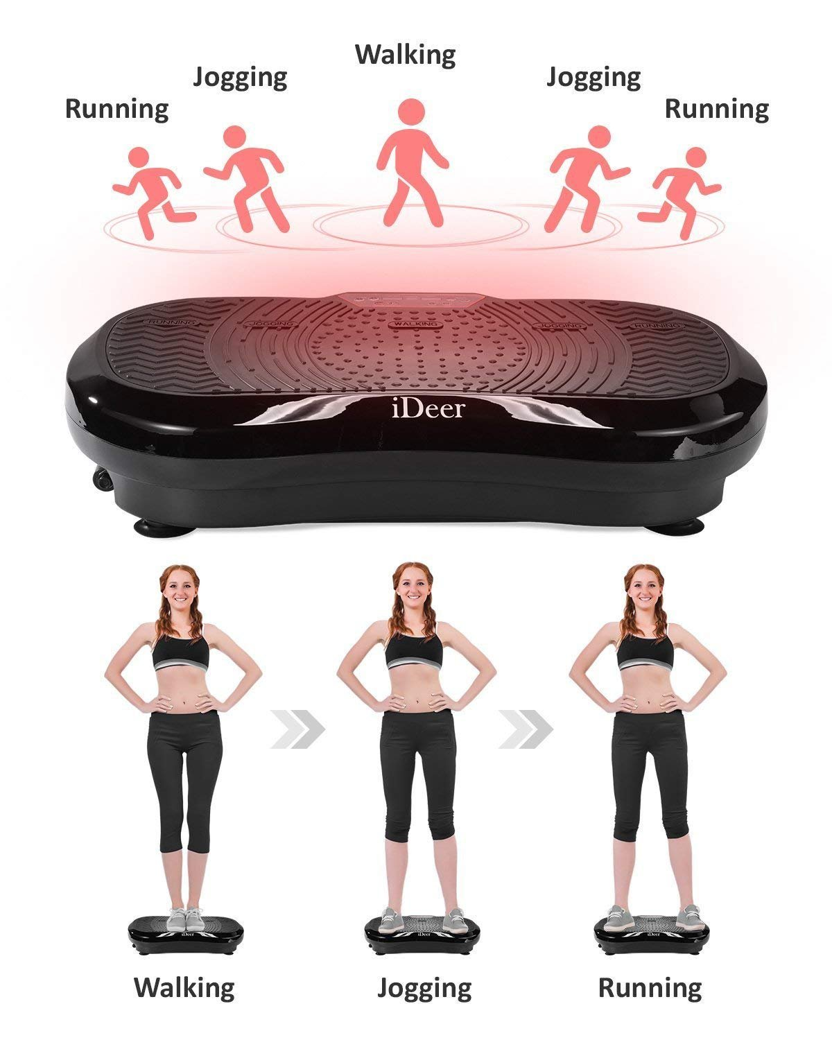 iDeer Vibration Platform Fitness Vibration Plates,Whole Body Vibration Exercise Machine w/Remote Control &Bands,Anti-Slip Fit Massage Workout Vibration Trainer Max User Weight 330lbs (Black09001) by IDEER LIFE (Image #3)
