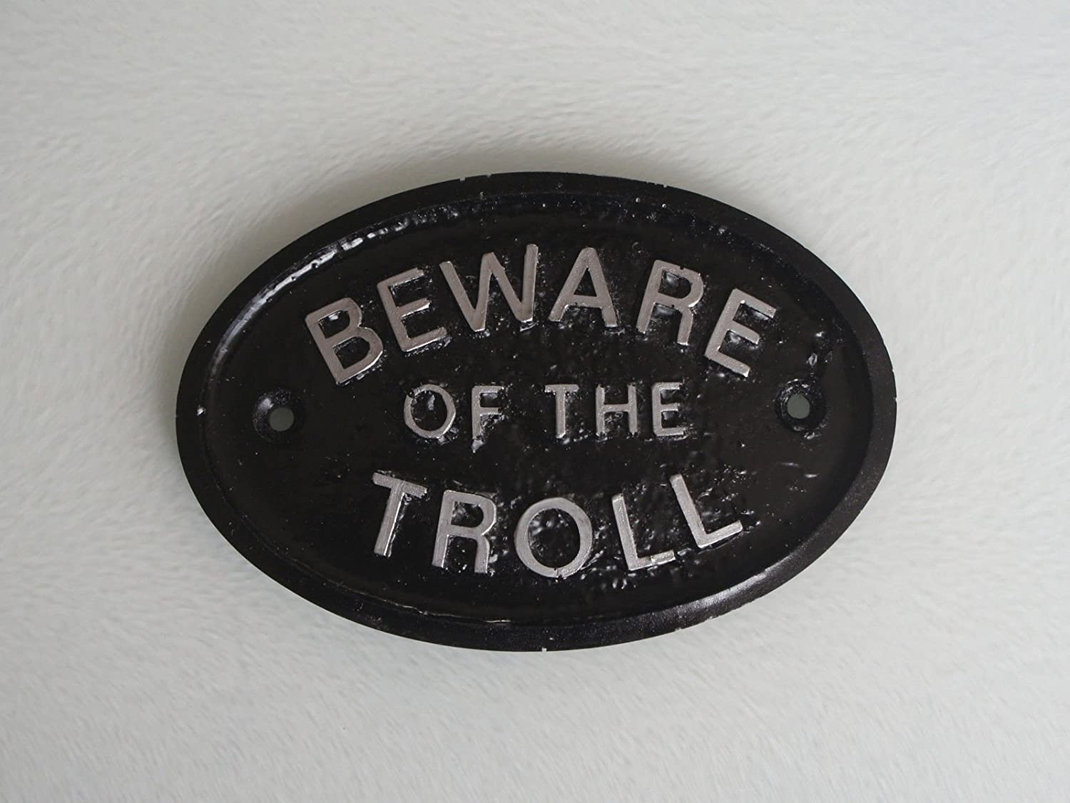 """Silver """"Beware of the Troll"""" (Cave Dweller) Garden Wall Or Fence Plaque/Sign (Black & Silver)"""