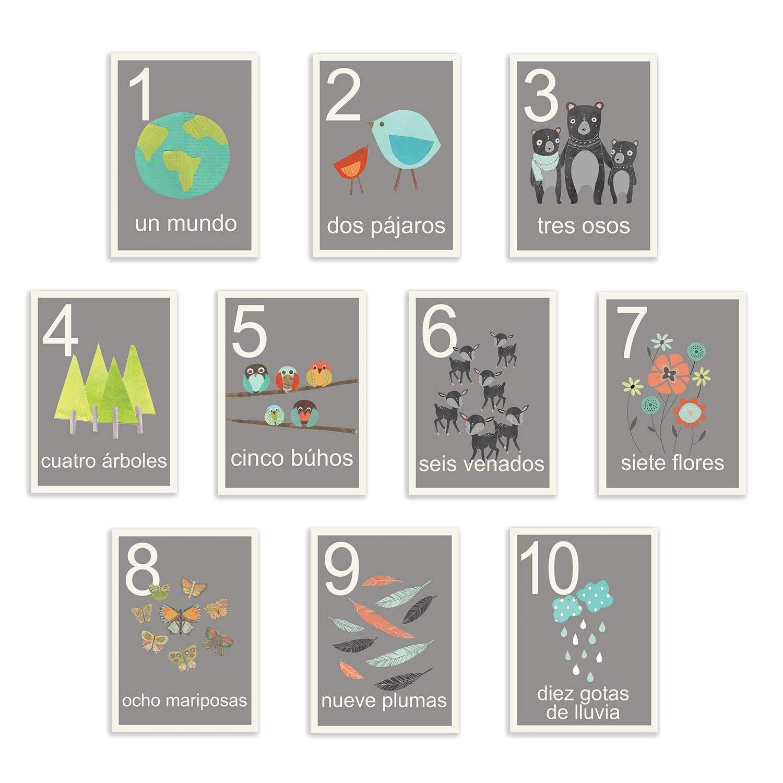 Our World Counting スペイン語カード フラッシュカード 10枚セット 壁アート 保育園壁装飾 子どものアートデコ 性別不問 保育園 自然 08x10 walnumgrespa0810.m 08x10  B073RCJH21
