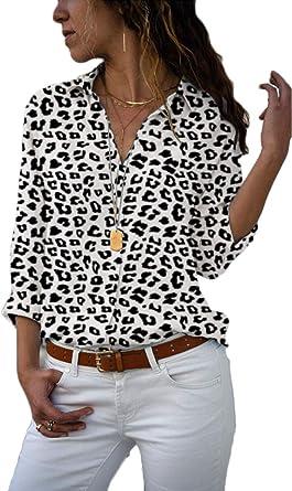 Blusa Mujeres Moda Leopardo Largo Mangas Leopardo Blanco ...