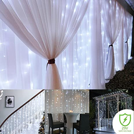 Curtain String Lights ,300 LED Icicle Wall Lights, Fairy Indoor Starry  Lights 8 Mode