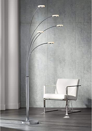 Aldo Modern Arc Floor Lamp LED 5-Light Chrome Acrylic Diffuser Ring