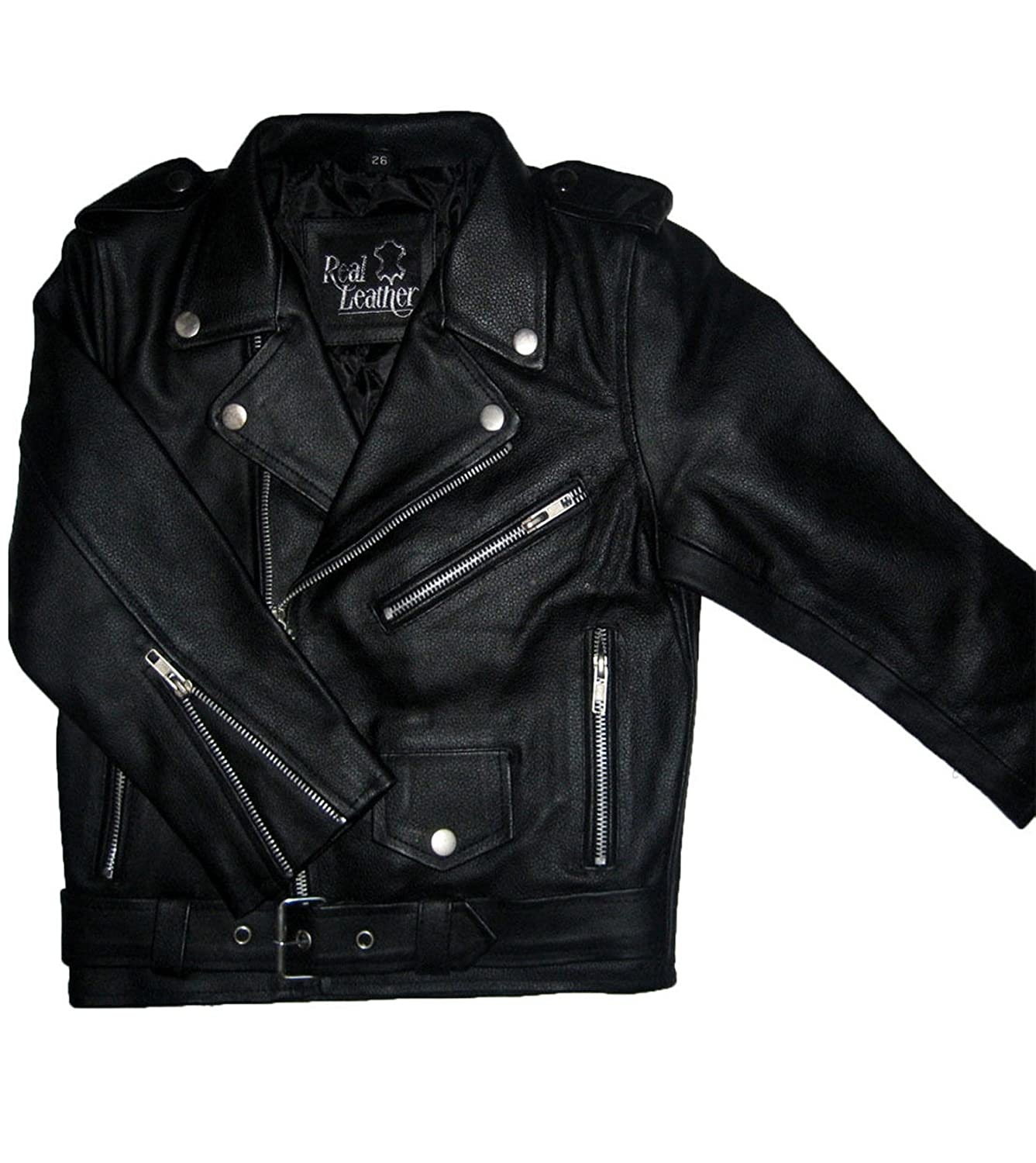 Boys/Girls Genuine Leather Motorcycle Brando Kids Biker Jacket (4 to 13 Years)