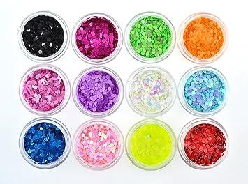 Amazon.com: QIMISI 12 Colors Glitter Acrylic Round Sheet Tips ...