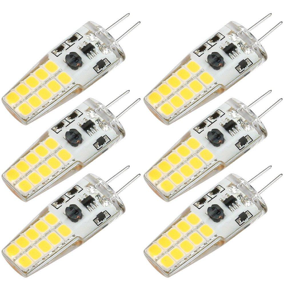Kakanuo G4 LED Bulb 12V Warm White 3000K 3 Watt 30W Equivalent 300Lumen Bi-pin Base Non Dimmable 20x2835 LEDs AC/DC10-20V(Pack of 6)