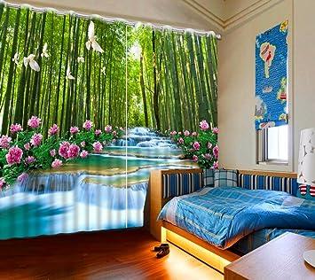 Sproud Natur Landschaft Wasserfall Bambus Vorhang Vorhange Neuen