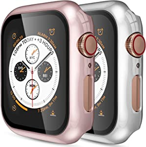 [2 Pack] GEAK for Apple Watch Case 38mm Series 3 with Screen Protector, Full Coverage Bumper Protective Case for iWatch Series 2/1, Rose Gold/Silver
