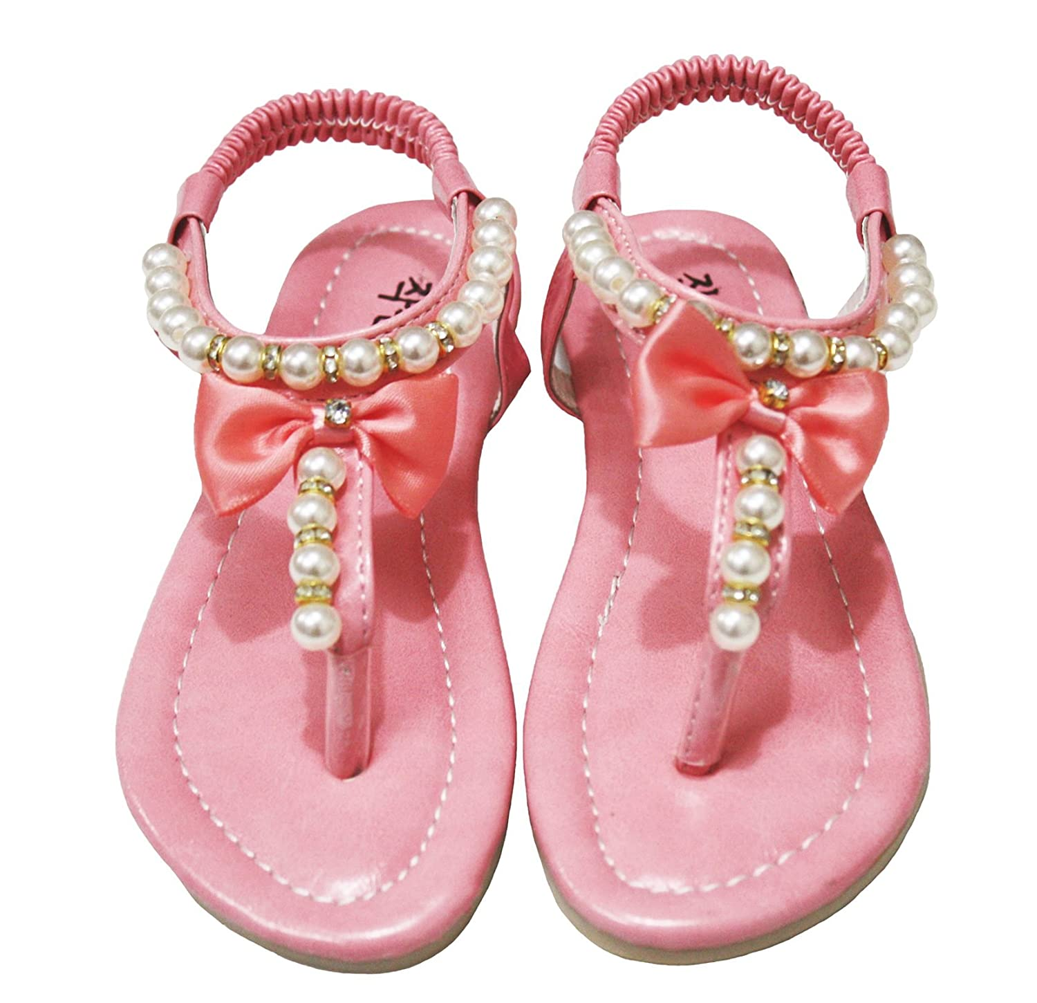 Girl Shoes T Strap Bow Pearl Flat Sandals Children Wear 601