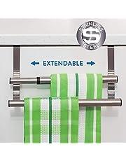 Tatkraft Double Toallero Extensible Doble Sobre Puerta Acero Inoxidable para Cocina y Baño 25-40 X 14 X 12 cm
