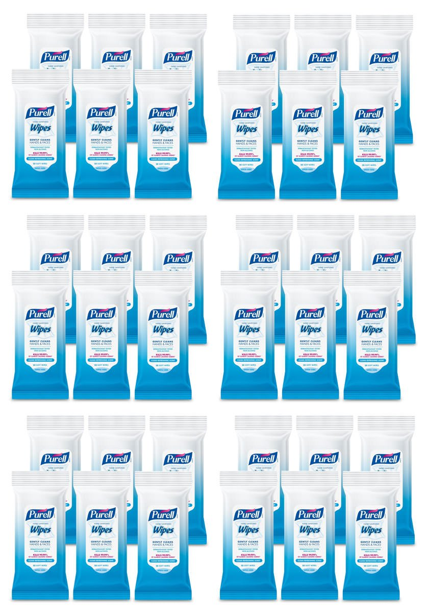 Purell NUJI 9124-09 Hand and Face Sanitizing Wipes, Clean Refreshing Scent, 15 Count Travel Pack 6 Boxes