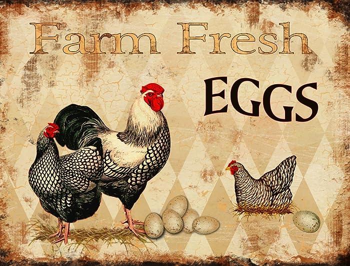 """Barnyard Designs Farm Fresh Eggs Retro Vintage Tin Bar Sign Country Home Decor 13"""" x 10"""""""