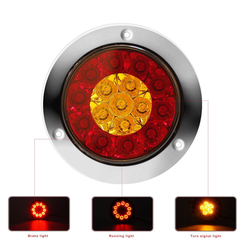 2 St/ück LITTOU Runde LED-Anh/änger R/ückleuchten 12V 16-LED Wasserdicht und Bremslicht Lampe mit Edelstahl Chrome Bezel f/ür LKW RV etc. Rot+Amber