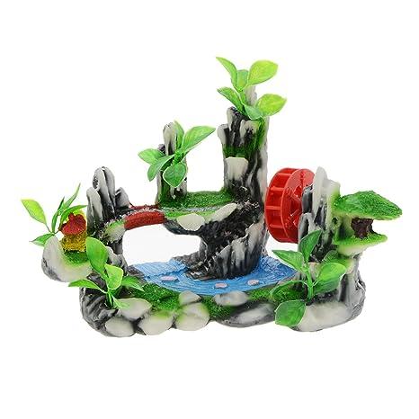 Saim - Decoración para acuario o pecera, resina, diseño de volante de agua rojo, color verde, ...
