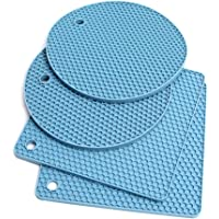 Extra Thick Silicone Trivet Mat Heat Resistant Pot Holders Hot Pads Multi-Purpose Table Placemats for Hot Dishes and…