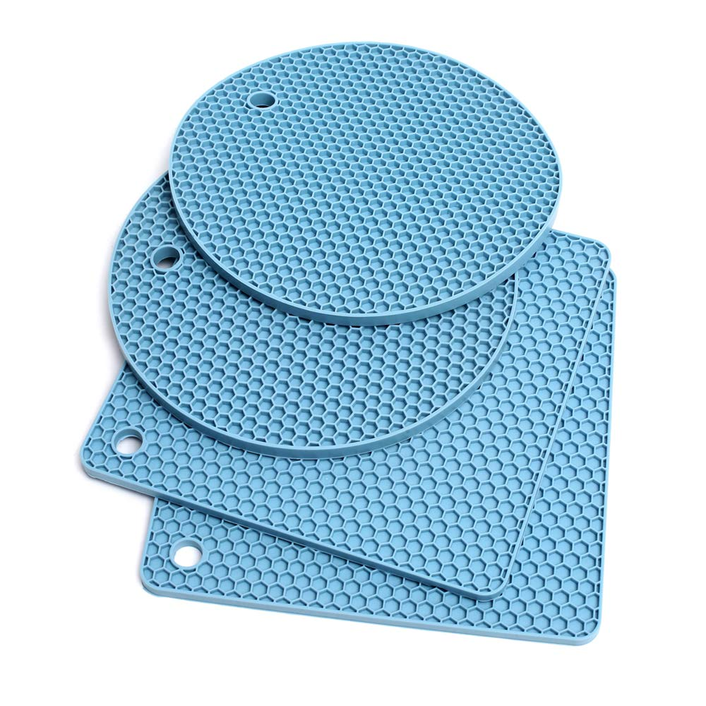 Extra Thick Silicone Trivet Mat Heat Resistant Pot Holders Hot Pads Multi-Purpose Table Placemats for Hot Dishes and Table - Kitchen Potholders for Jar Opener, Spoon Holder, Oven Mitts (4 Pack Blue)
