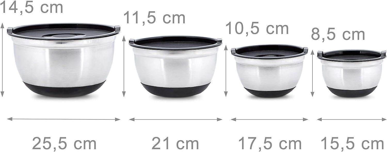 21 colour negro y plateado 25,5 cm de mezclar de acero inoxidable de juego de con aroma-cubierta protectora de ensalada y cuenco con tapa Relaxdays juego de BOWLY con tapa de 3 teilig con 17 cm de di/ámetro