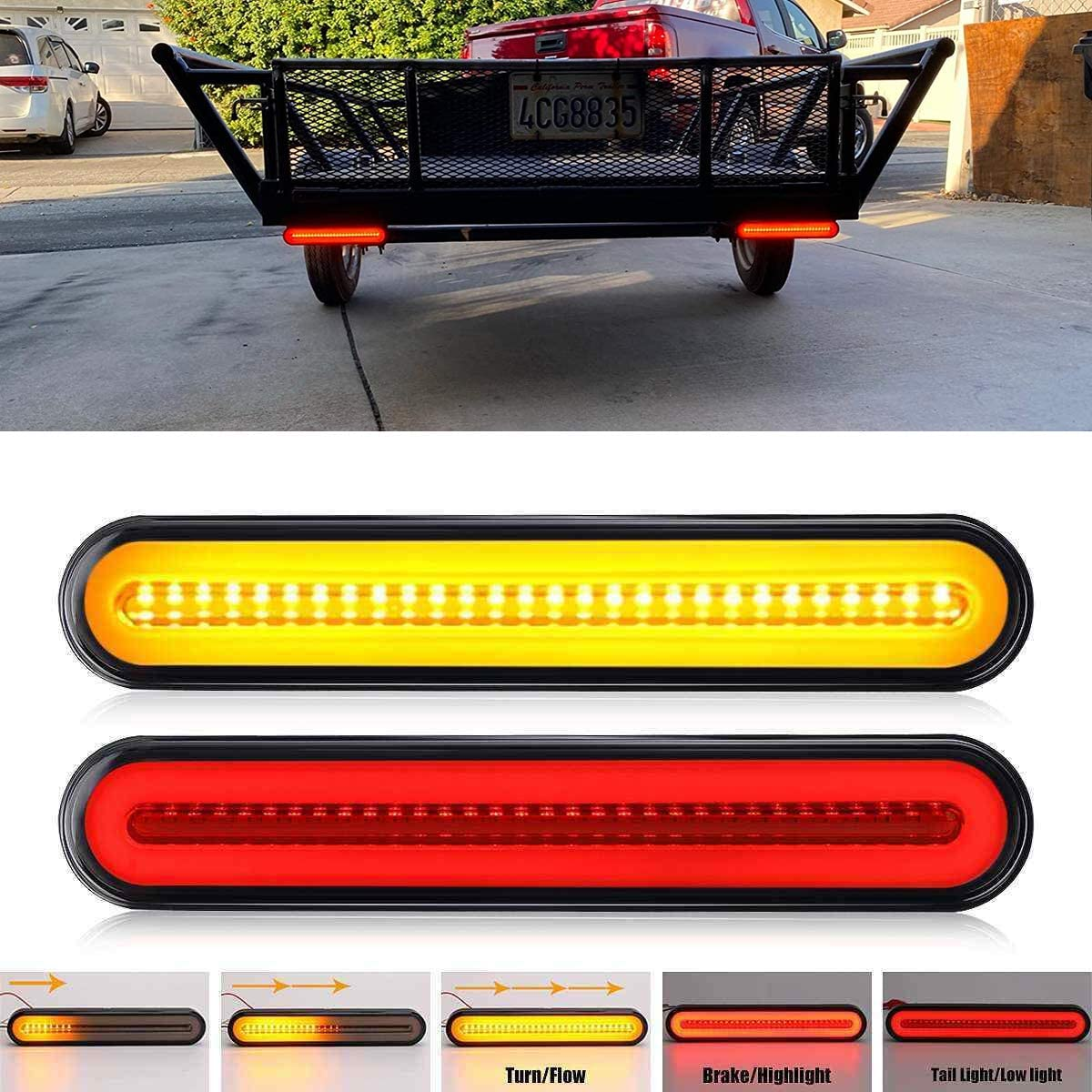 """FABOOD F 2PCS 9/"""" Inch Trailer 100 LED Tail Light Bar Red Sequential Spin Running Tail Light Flicker Brake Light Sequential Flowing Amber Turn Signal Taillight for Trailer Truck Pickup SUV RV Van"""