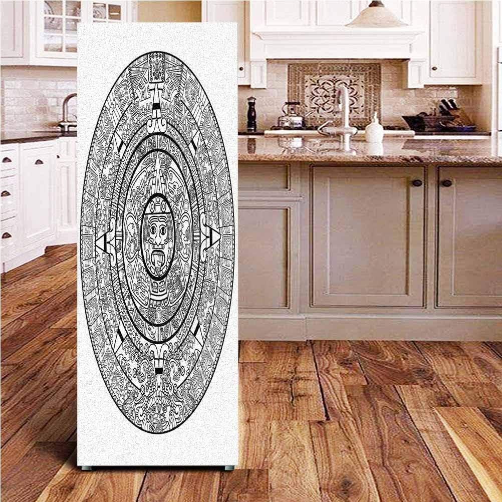"Mesoamerican Decor 3D Door Fridge DIY Stickers,Maya Calendar Illustration Accurate Antiquities Astrological Aztec Geometric Indigenous Door Cover Refrigerator Stickers for Home Gift Souvenir,24x70"""