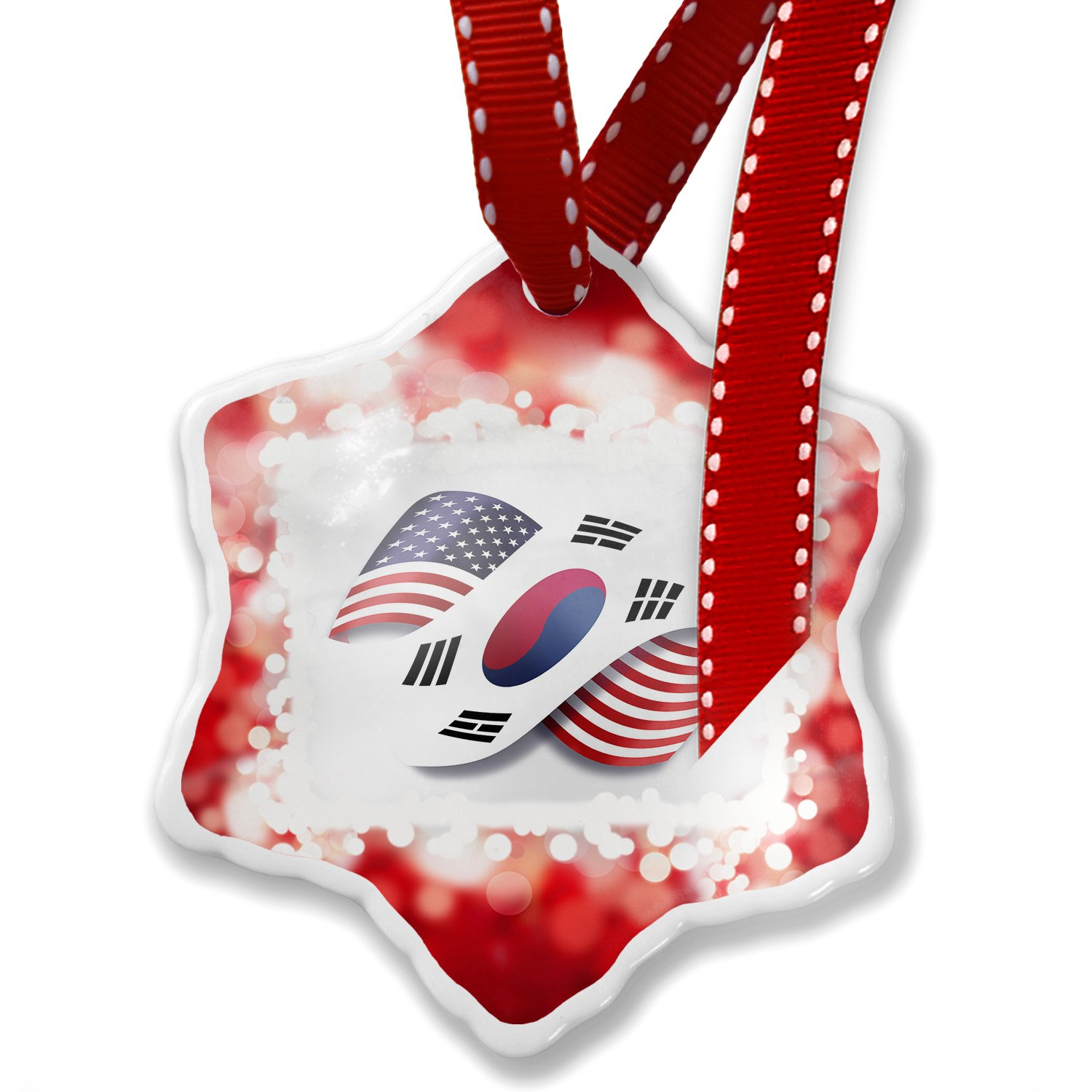 Christmas Ornament Infinity Flags USA and South Korea, red - Neonblond