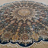 Yilong 11.2 x11.2  Large Round Handmade Silk Rug Vintage Oriental Isfahan Medallion Flower Bloder with Medallion...