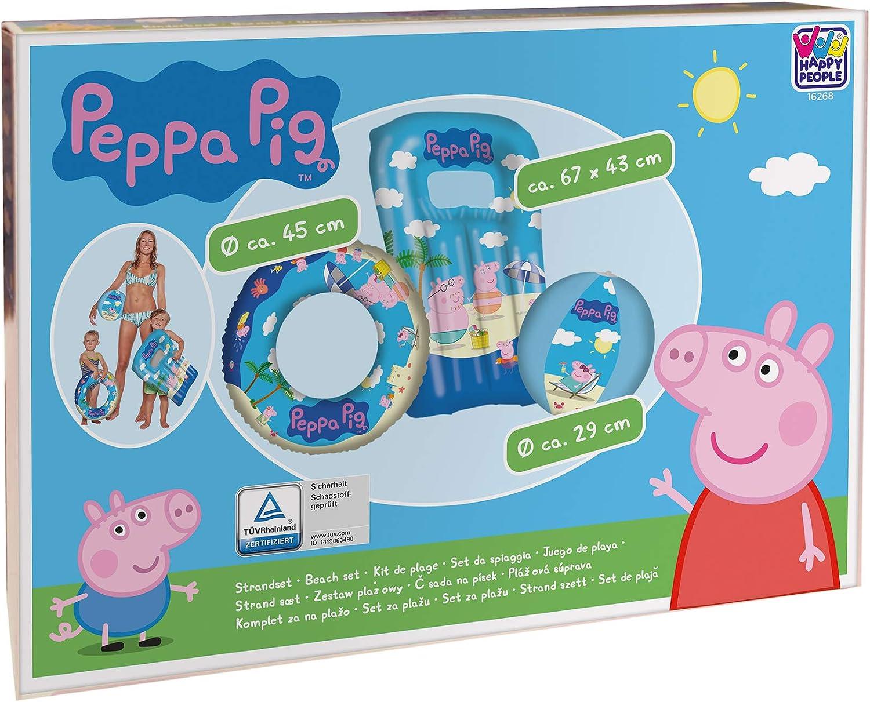 Peppa Pig Juego de Playa | 3 Partes Colchoneta, Flotador & Pelota ...