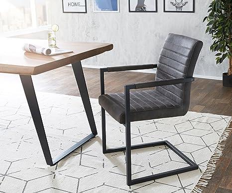 Kuchenstuhl Earnest Vintage Freischwinger Design Stuhl Anthrazit Gestell Metall Schwarz